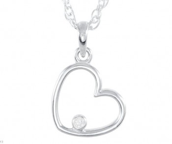 Sterling Silver Round Brilliant Russian *Diamond* Heart Pendant w/ Chain - Product Image