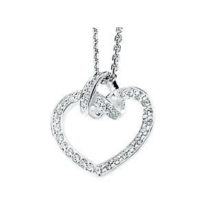 Sterling Silver Round Russian CZ Cubic Zirconia Heart 'Love Knot' Pendant w/ Chain - Product Image