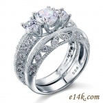 Sterling Silver Round Three Stone Antique Inspired Filigree CZ Engagement ring & Matching Wedding Band - Product Image