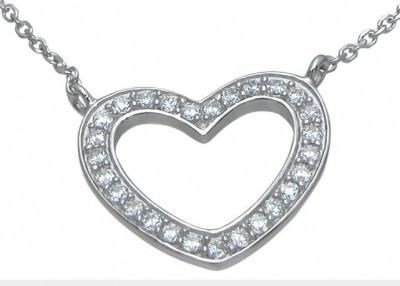 Sterling Silver Russian CZ Cubic Zirconia Heart Pendant w/ Chain - Product Image