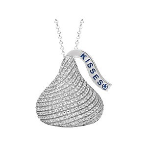 Sterling Silver Russian CZ HERSHEY'S KISSES® Pendant w/ Chain - Product Image