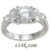 Sterling Silver Russian CZ Round Brilliant Antique Vintage Inspired Cubic Zirconia Ring  - Product Image